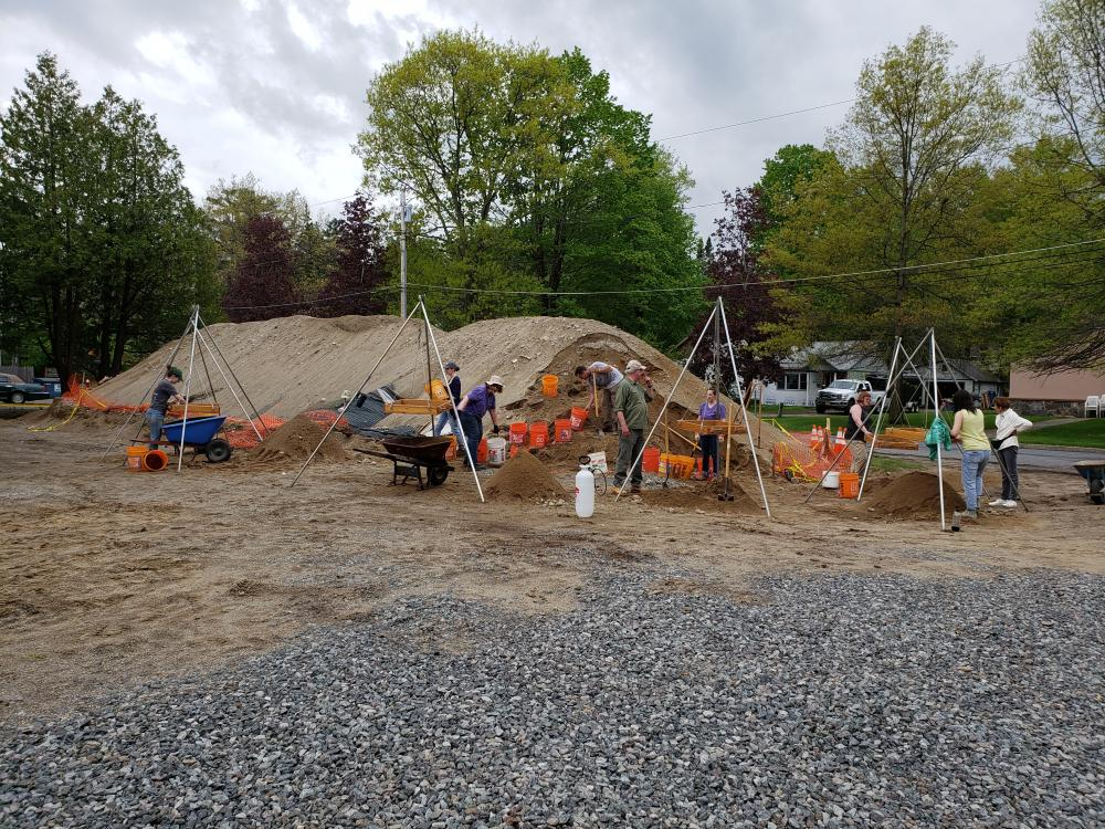 Spoil heap (also known as a backdirt pile) as it was seen in May 2019 at the Lake George Courtland Street Burial Ground