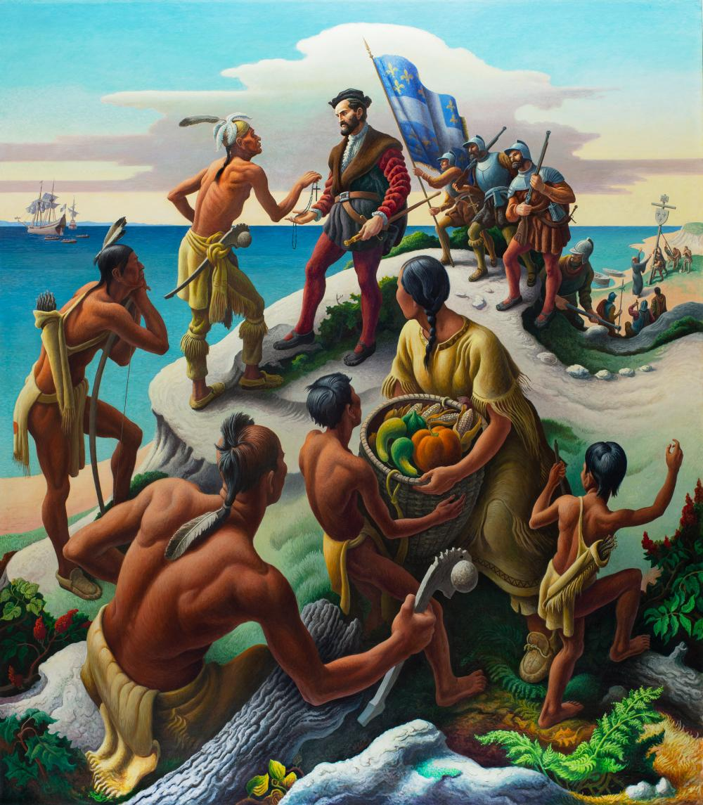 Jacques Cartier Discovers the Indians - Mural by Thomas Hart Benton