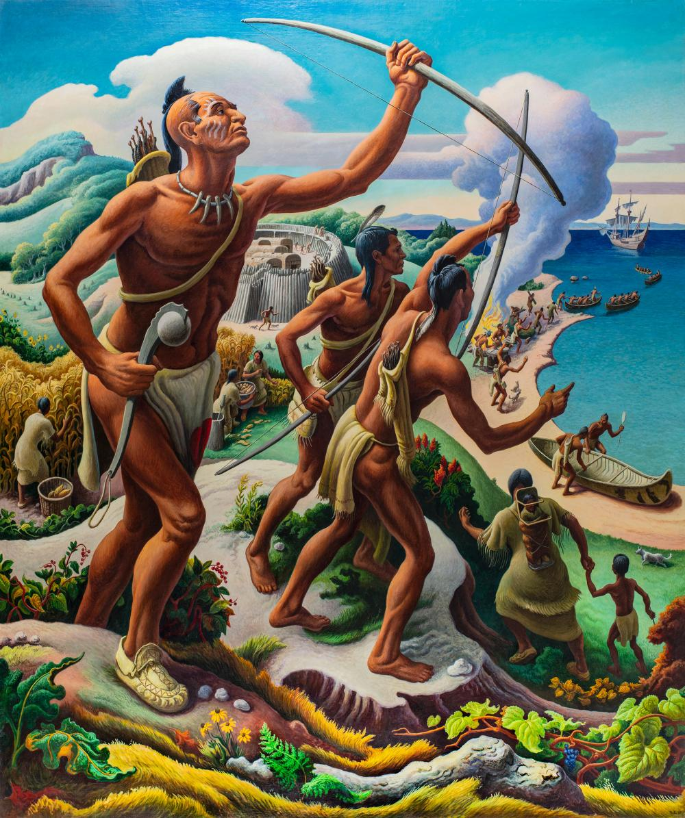 The Seneca Discover the French - Mural by Thomas Hart Benton