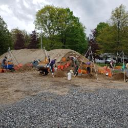 Spoil heap (also known as a backdirt pile) as it was in May 2019 at the Lake George Courtland Street Burial Ground