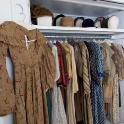 dresses hanging in closet