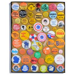 Campaign buttons for Shirley Chisholm and Bella Abzug, ca.1970