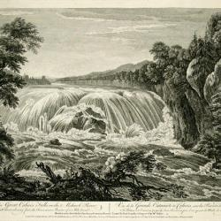 Lithographic print of waterfalls