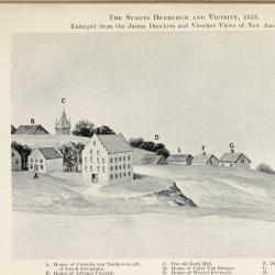 Depiction of 17th-century New Amsterdam showing the location of the Cornelis van Tienhoven family home