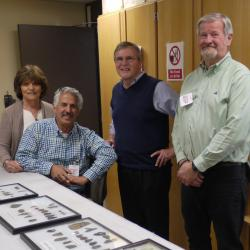 Shown, left to right: Joyce and Tom Bush at donation of OPS site collection to NYSM, with Mike Beardsley and Mark Clymer.