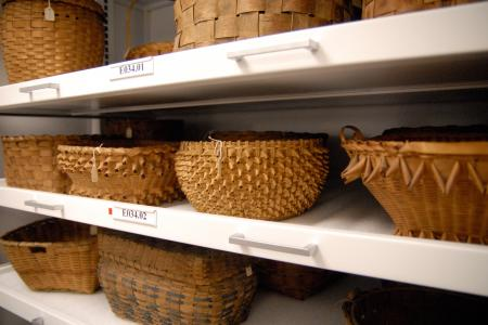 baskets on shelves
