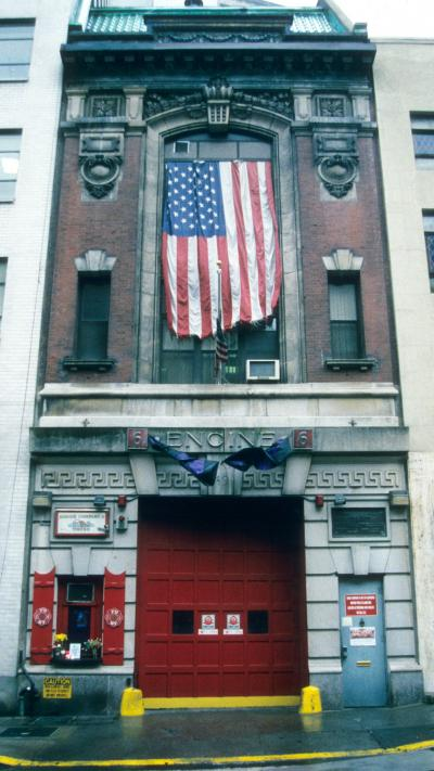 American flag hanging from building