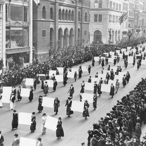 Suffrage Parade black and white photo