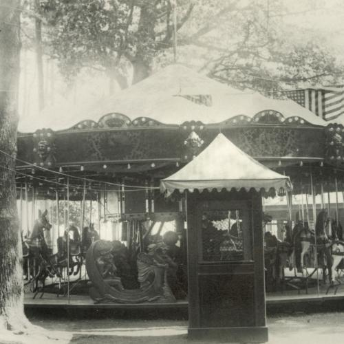 historical photo of the carousel in Olcott Beach