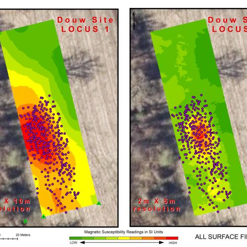 "Magnetic susceptibility results overlaid with surface artifact locations show a strong correlation between finds and MS ""hot spots"""