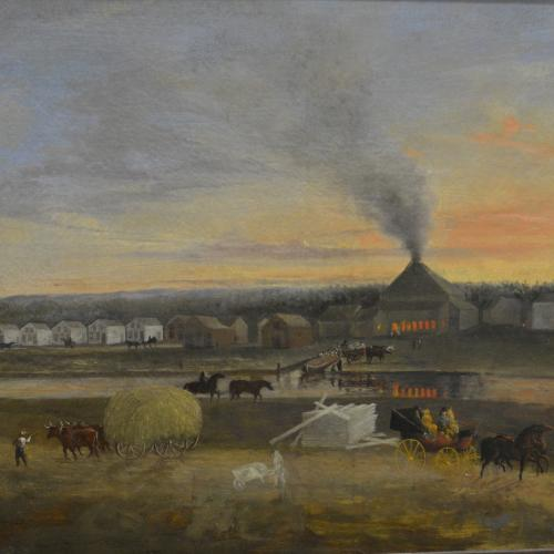 Painting of Durhamville Glassworks in Oneida County