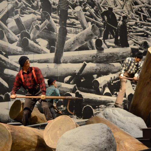 exhibition view of historical loggers in the Adirondacks