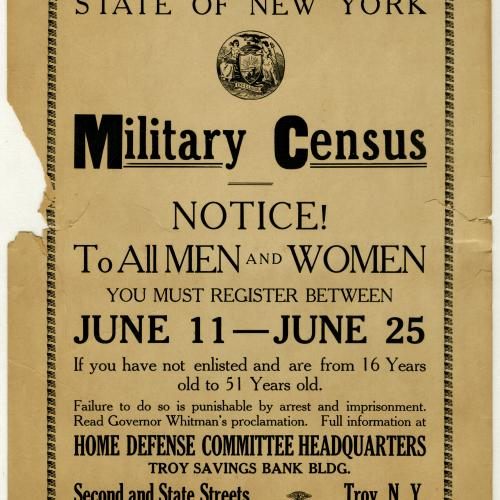 Broadside for Military Census in Rensselaer County