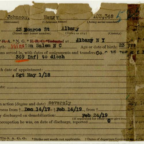 World War I Service Card for Henry Johnson