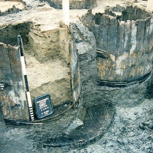 excavated vats from archaeological site