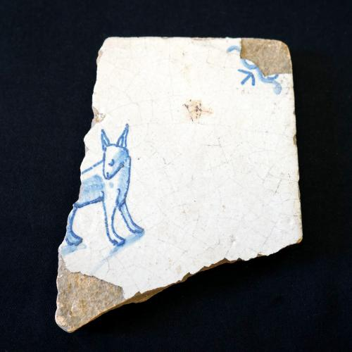 Schuyler Flatts Collection Delft Tile with Dog Pattern