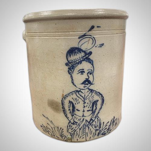 Five gallon crock, decorated with a figure of a man with a bowler hat, ca. 1880.