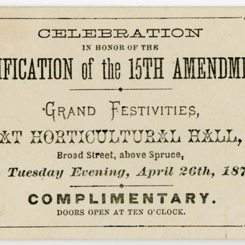 Ticket to the celebration in honor of the ratification of the 15th Amendment