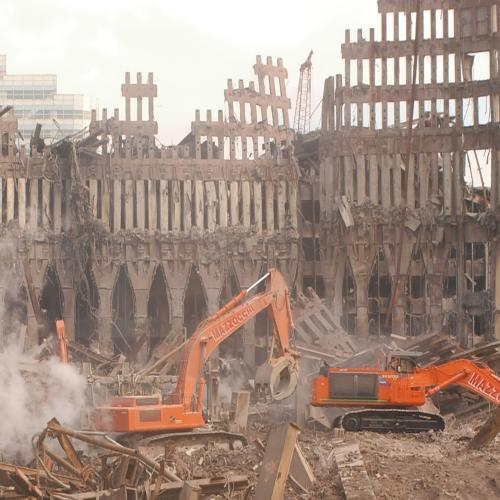 photo of ground zero after the attacks of 9/11/01