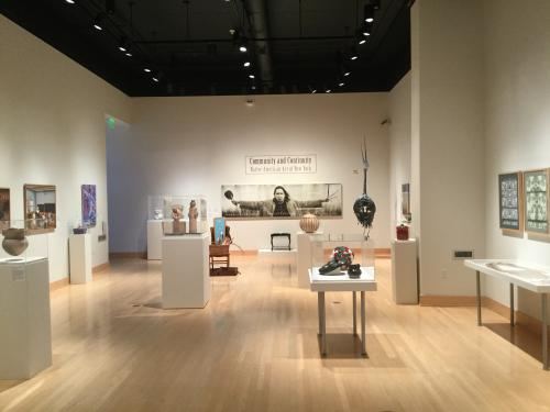 """View of the exhibit, """"Community and Continuity: Native American Art of New York"""" at the Samuel Dorsky Museum of Art, SUNY New Paltz"""