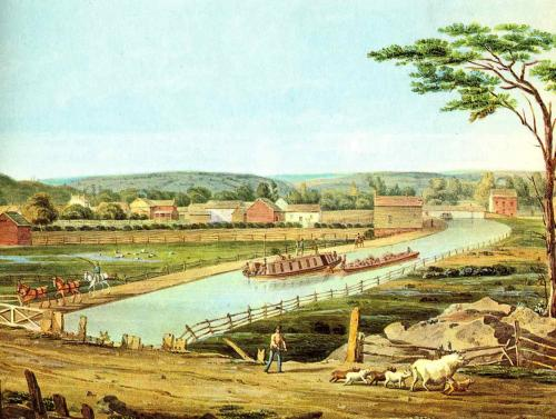 Color lithograph of Erie Canal 1829