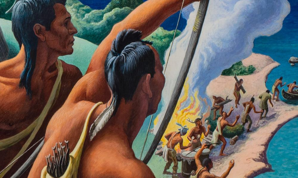 Detail from Seneca Discover the French by Thomas Hart Benton