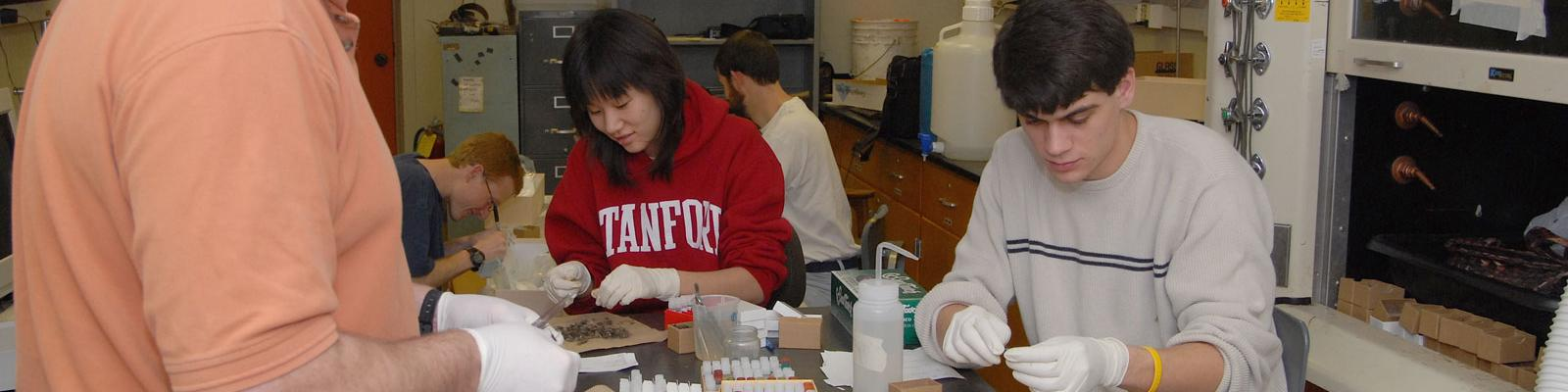 Students in the bio lab preparing specimens