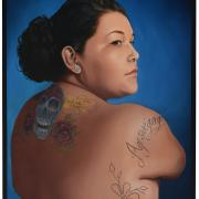 """Ageswe'gaiyo'"" by Luanne Redeye (Seneca), oil on panel"